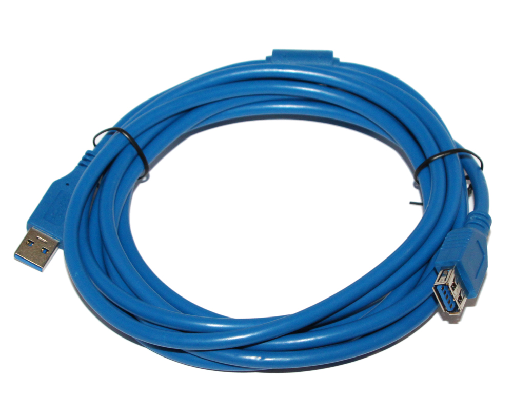 Кабель USB 2.0 AM-AF 3.0м 5bites золотые разъемы ферритовые кольца черный UC5011-030A