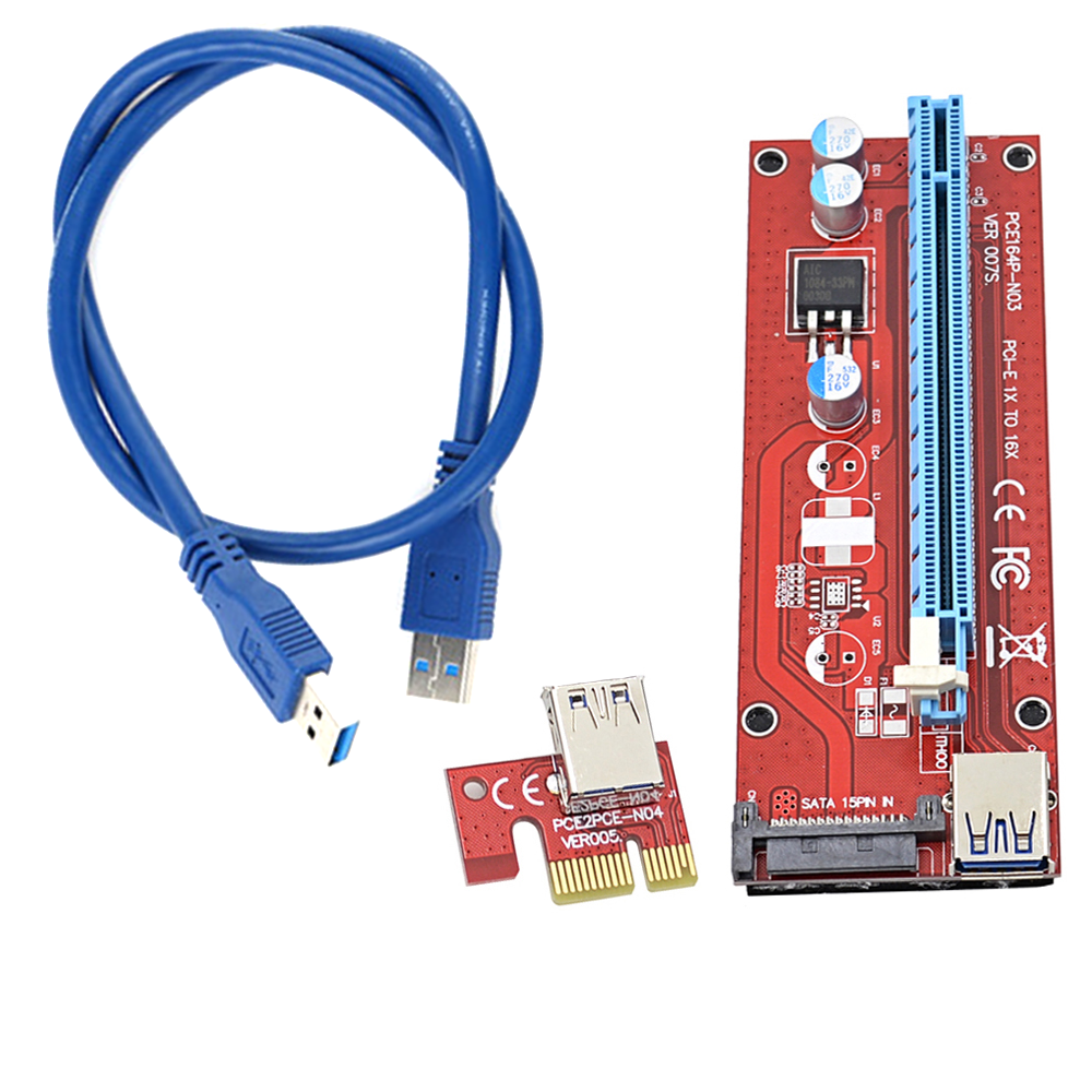 Райзер Dynamode PCI-E x1 to 16x 60cm USB 3.0 Cable 15Pin SATA Power v.007S Red